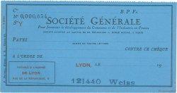 Francs FRANCE régionalisme et divers Lyon 1943 DOC.Chèque SUP