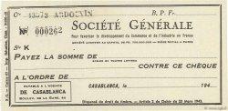 Francs FRANCE régionalisme et divers CASABLANCA (MAROC) 1943 DOC.Chèque SPL