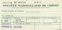 Francs FRANCE régionalisme et divers Sete 1943 DOC.Chèque SUP