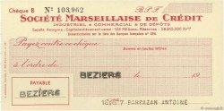 Francs FRANCE régionalisme et divers BEZIERS 1943 DOC.Chèque SUP