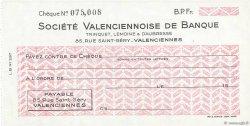 Francs FRANCE régionalisme et divers Valenciennes 1943 DOC.Chèque SPL