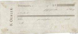 (B.P.) FRANCE régionalisme et divers OFFENBACH S/M 1870 DOC.Chèque TTB