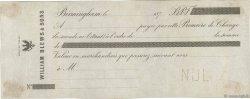 Francs FRANCE régionalisme et divers Birmingham (Grande-Bretagne) 1876 DOC.Chèque TTB