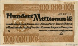 100 Millions Mark ALLEMAGNE Essen 1923  TTB