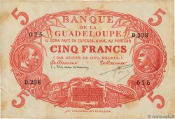 5 Francs Cabasson rouge GUADELOUPE  1934 P.07c TB