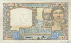 20 Francs SCIENCE ET TRAVAIL FRANCE  1942 F.12.21 TTB+
