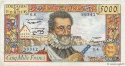 5000 Francs HENRI IV FRANCE  1957 F.49.01 pr.TTB