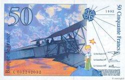 50 Francs SAINT-EXUPÉRY mouton en haut FRANCE  1992 F.72bis.01
