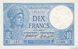 10 Francs MINERVE FRANCE  1921 F.06.05 TTB+