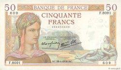 50 Francs CÉRÈS modifié FRANCE  1938 F.18.12 SUP