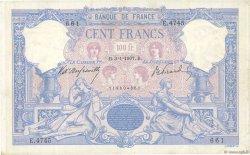 100 Francs BLEU ET ROSE FRANCE  1907 F.21.21 TTB