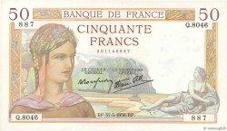 50 Francs CÉRÈS modifié FRANCE  1938 F.18.11 SUP+