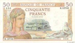 50 Francs CÉRÈS modifié FRANCE  1940 F.18.40 SUP
