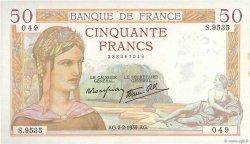 50 Francs CÉRÈS modifié FRANCE  1939 F.18.21 SUP
