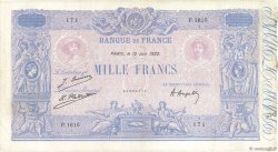 1000 Francs BLEU ET ROSE  FRANCE  1922 F.36.38 TB à TTB