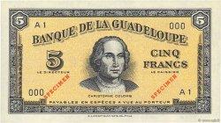 5 Francs GUADELOUPE  1942 P.21s NEUF