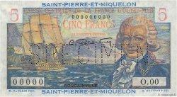 5 Francs Bougainville SAINT PIERRE ET MIQUELON  1946 P.22s NEUF