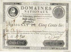 500 Livres FRANCE  1791 Ass.16b TTB à SUP
