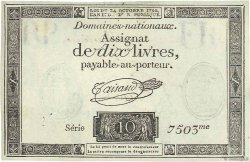 10 Livres filigrane républicain FRANCE  1792 Ass.36v SUP