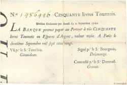 50 Livres Tournois typographié FRANCE  1720 Dor.24 TTB