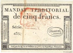 5 Francs Monval cachet rouge FRANCE  1796 Ass.63c TTB