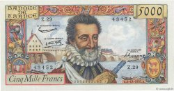 5000 Francs HENRI IV FRANCE  1957 F.49.04 SUP