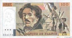 100 Francs DELACROIX modifié FRANCE  1984 F.69.08b SUP