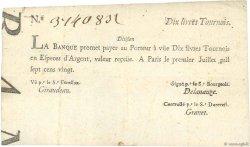 10 Livres Tournois typographié FRANCE  1720 Dor.22 TTB+
