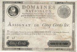 500 Livres FRANCE  1790 Ass.10a TTB