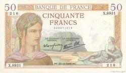 50 Francs CÉRÈS modifié FRANCE  1938 F.18.17 SUP