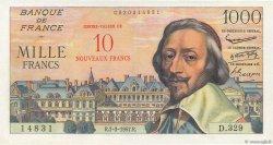 10 NF sur 1000 Francs RICHELIEU FRANCE  1957 F.53.01 SUP+