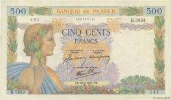 500 Francs LA PAIX FRANCE  1943 F.32.45 TTB+