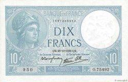 10 Francs MINERVE modifié FRANCE  1939 F.07.13 SUP+