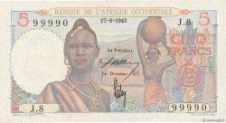 5 Francs AFRIQUE OCCIDENTALE FRANÇAISE (1895-1958)  1943 P.36 SUP