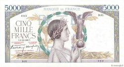 5000 Francs VICTOIRE Impression à plat FRANKREICH  1938 F.46.01 VZ+