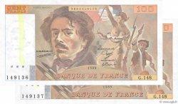 100 Francs DELACROIX modifié FRANKREICH  1989 F.69.13c fST+