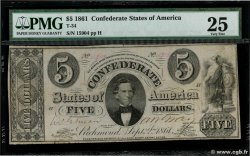 5 Dollars CONFEDERATE STATES OF AMERICA  1861 P.16b F
