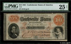10 Dollars  CONFEDERATE STATES OF AMERICA  1861 P.23 VF-
