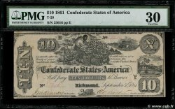 10 Dollars CONFEDERATE STATES OF AMERICA  1861 P.28 VF