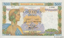 500 Francs LA PAIX FRANCE  1942 F.32.39 SUP+