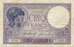 5 Francs VIOLET FRANCE  1918 F.03.02 TTB
