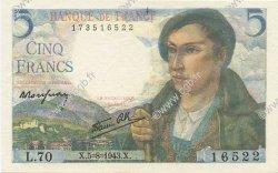 5 Francs BERGER FRANCE  1943 F.05.03 SPL