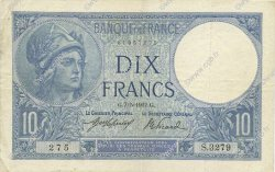 10 Francs MINERVE FRANCE  1917 F.06.02 TTB