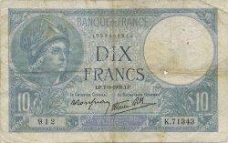 10 Francs MINERVE modifié FRANCE  1939 F.07.06 TB