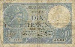 10 Francs MINERVE modifié FRANCE  1939 F.07.11 B