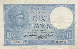 10 Francs MINERVE modifié FRANCE  1940 F.07.22 TTB+