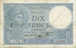 10 Francs MINERVE modifié FRANCE  1940 F.07.24 pr.TTB