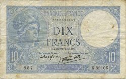 10 Francs MINERVE modifié FRANCE  1940 F.07.25 TB