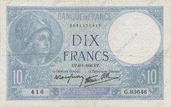 10 Francs MINERVE modifié FRANCE  1941 F.07.27 TTB