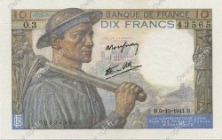 10 Francs MINEUR FRANCE  1941 F.08.02 pr.SUP